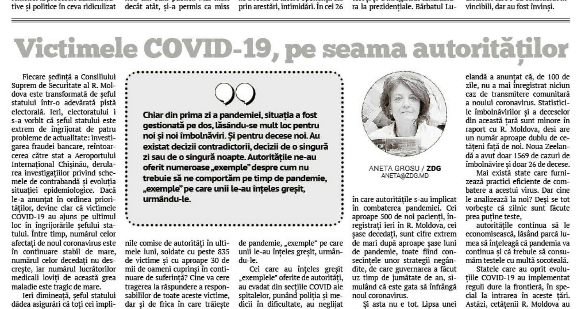The Authorities Responsible for the Number of COVID-19 Victims