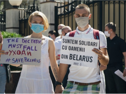 PHOTO/ The National Platform of the Eastern Partnership Civil Society Forum Organized a Protest at the Belarus Embassy in Chișinău
