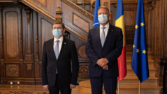 President of the Moldovan Parliament Igor Grosu Meets the Romanian President, Klaus Iohannis, in Bucharest