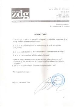 Solicitare de informatie Chiril Gaburici