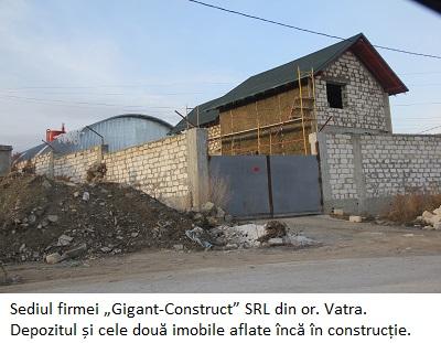 """Sediul firmei """"Gigant-Construct"""" SRL din or. Vatra. Depozitul și cele două imobile aflate încă în construcție"""