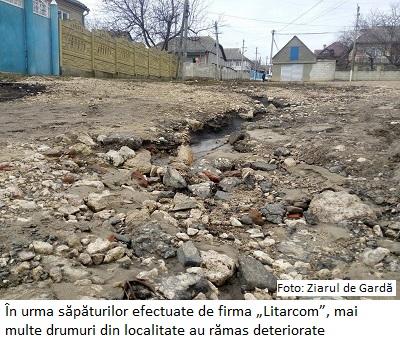 """Foto Costesti 2 În urma săpăturilor efectuate de firma """"Litarcom"""", mai multe drumuri din localitate au rămas deteriorate"""