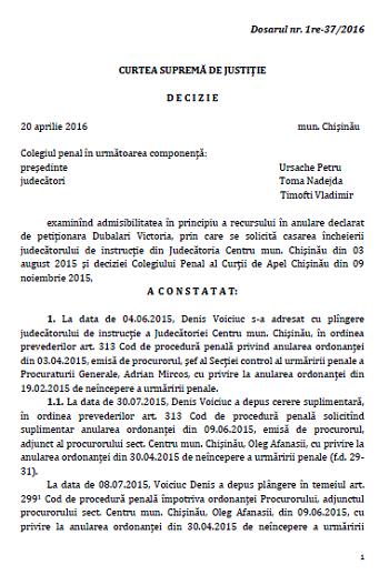 Decizia Curții Supreme de Justiție pe cazul Dubălari vs Voiciuc (Magister-Lux SRL)