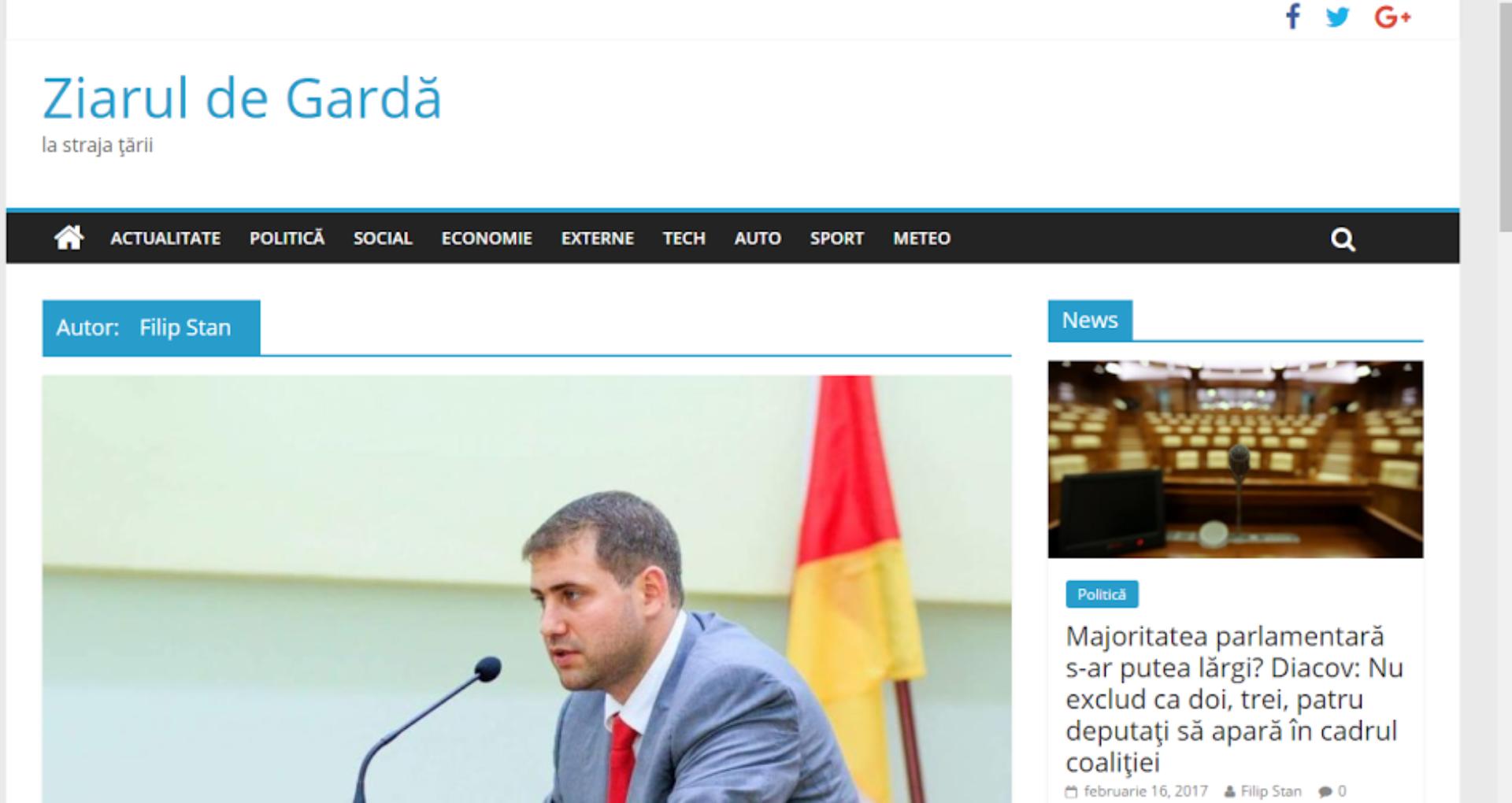 DECLARAȚIE: O pagină web falsă utilizează numele Ziarul de Gardă, furând conținut mediatic