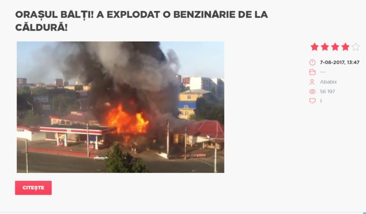 Explozia din Balti, o benzinarie in flacari. Stiri false, fake news.