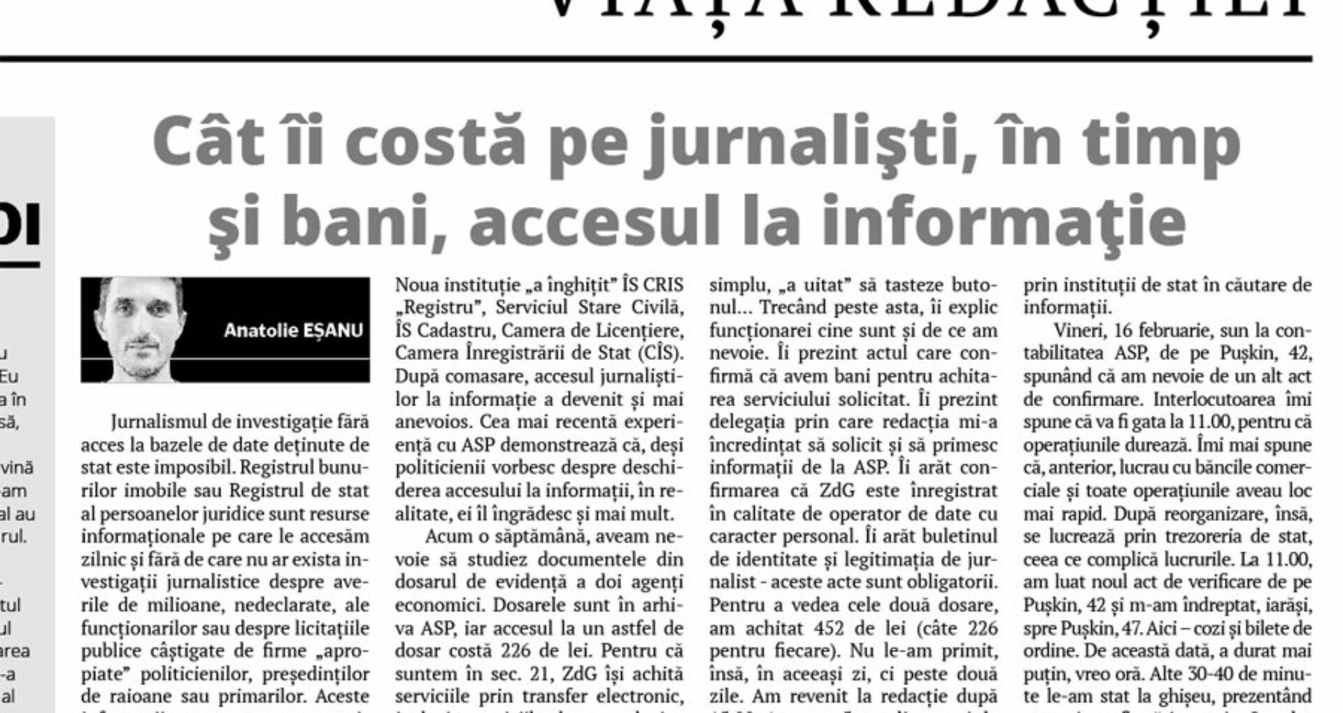 Cât îi costă pe jurnalişti, în timp şi bani, accesul la informaţie