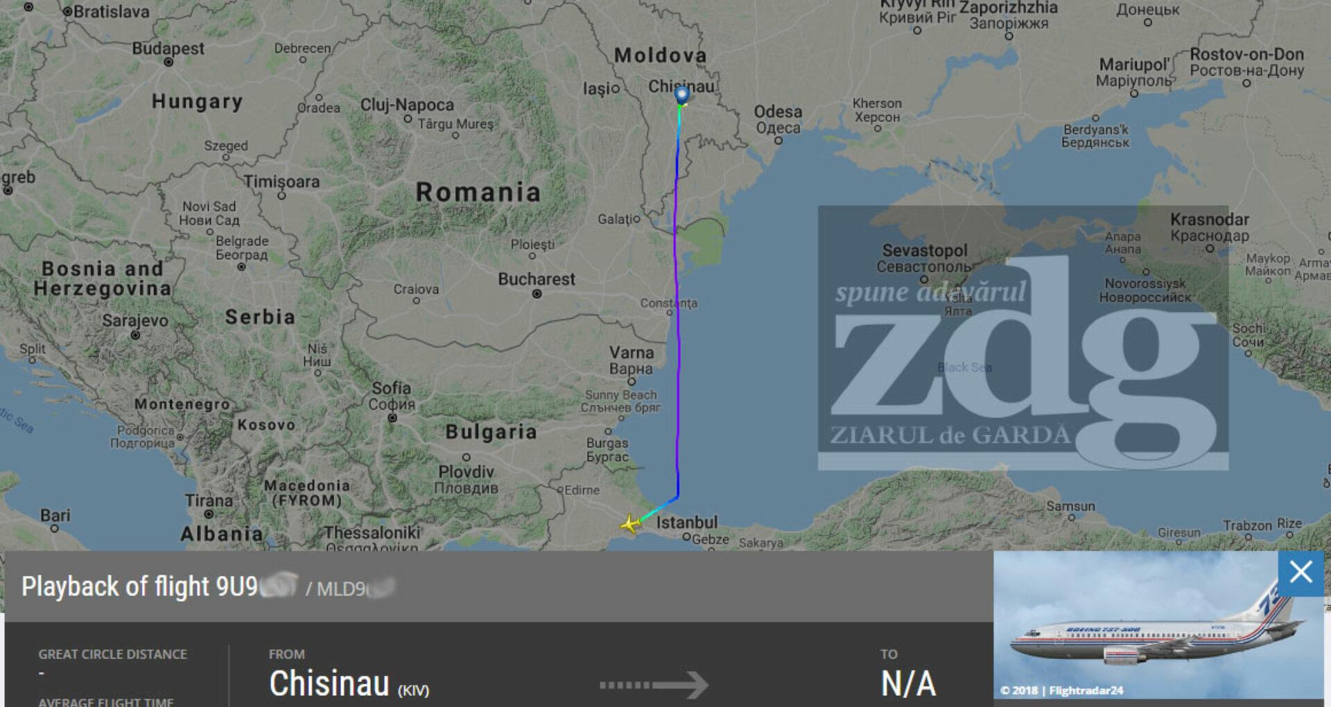 FOTO/ Avionul care i-a expulzat pe cetățenii turci, zbor sub umbrela Air Moldova și aterizare pe un aeroport militar din Turcia?