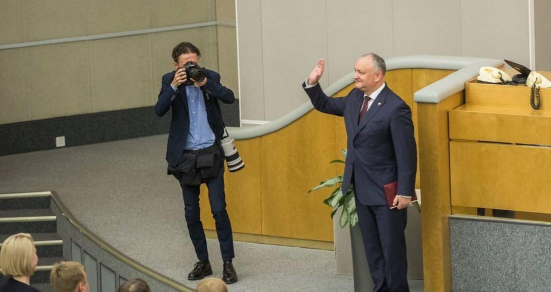 VIDEO/ Igor Dodon  în plenul Dumei de Stat: Pacea de pe Nistru a fost restaurată datorită operațiunii de menținere a păcii