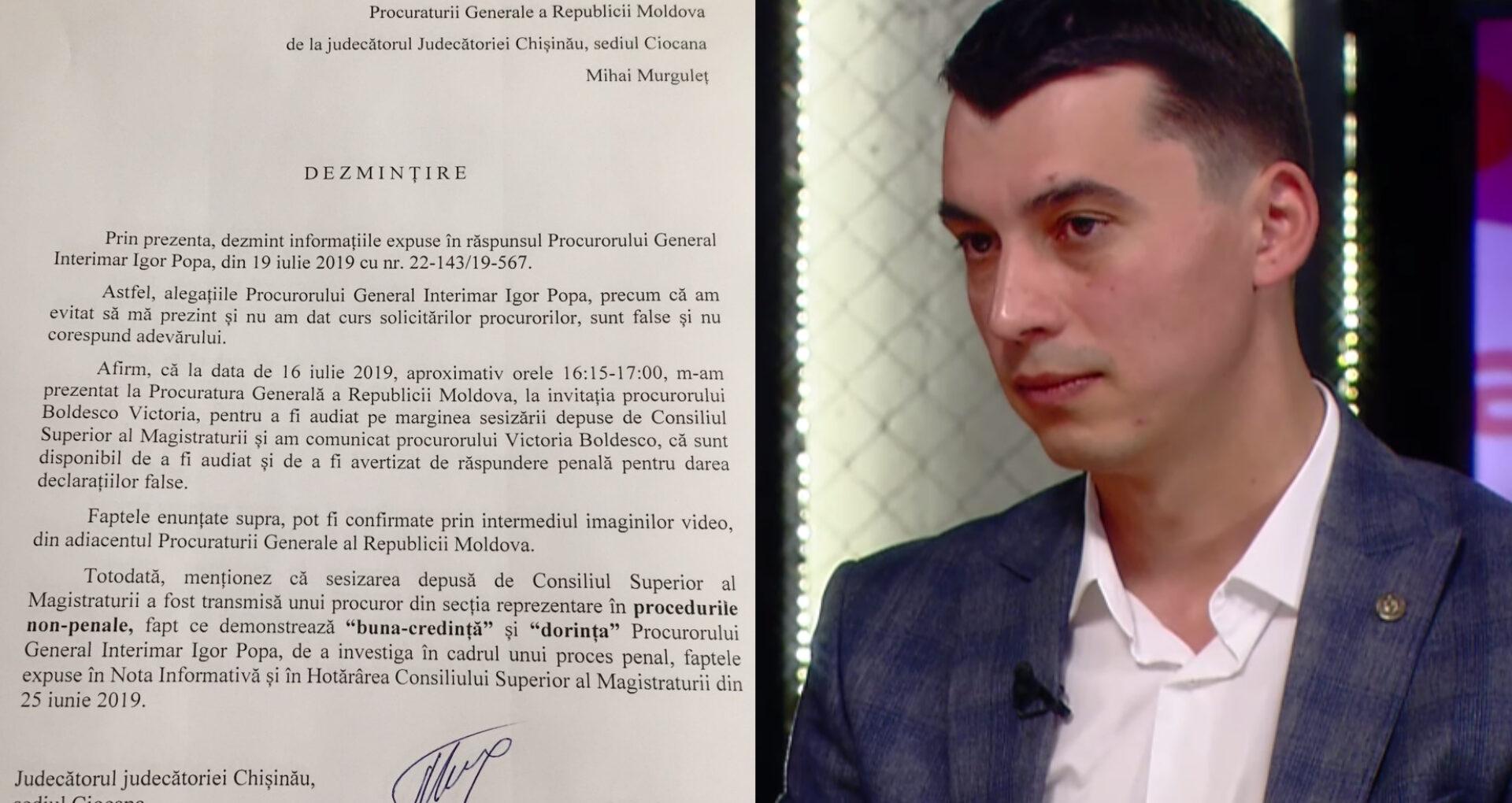 Judecătorul Murguleț dezminte declarațiile procurorului general interimar și oferă detalii despre vizita la PG