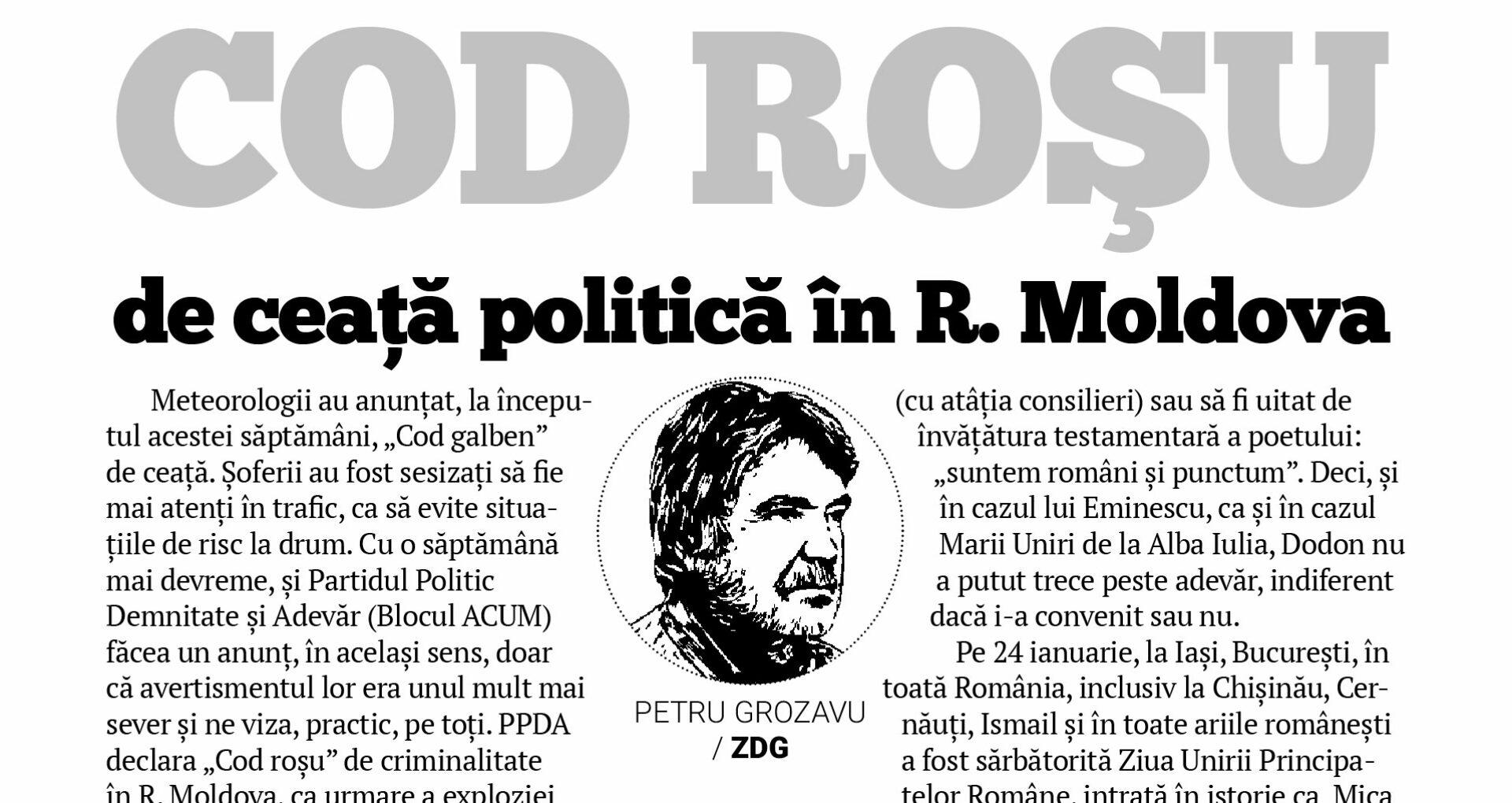 COD ROŞU de ceață politică în R. Moldova