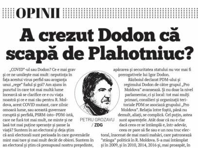 A crezut Dodon că scapă de Plahotniuc?