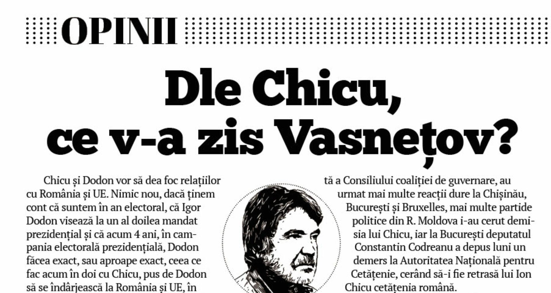 Dle Chicu, ce v-a zis Vasnețov?