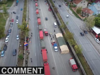 Convoiul de camioane cu ajutor din partea României, văzut de la înălțime