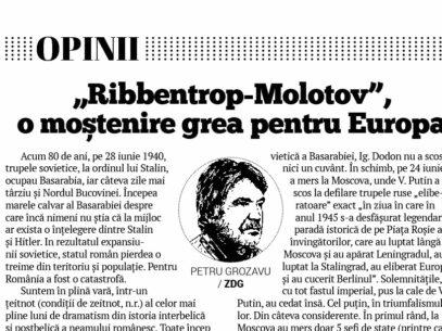 """""""Ribbentrop-Molotov"""", o moștenire grea pentru Europa"""
