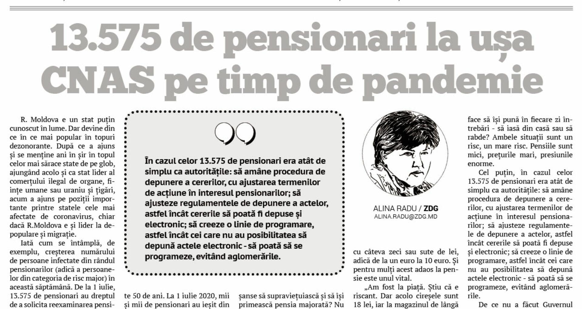 13.575 de pensionari la ușa CNAS pe timp de pandemie