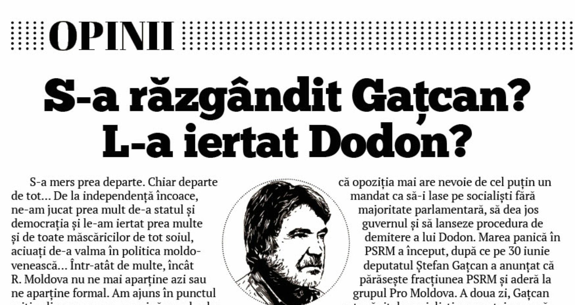 S-a răzgândit Gațcan? L-a iertat Dodon?