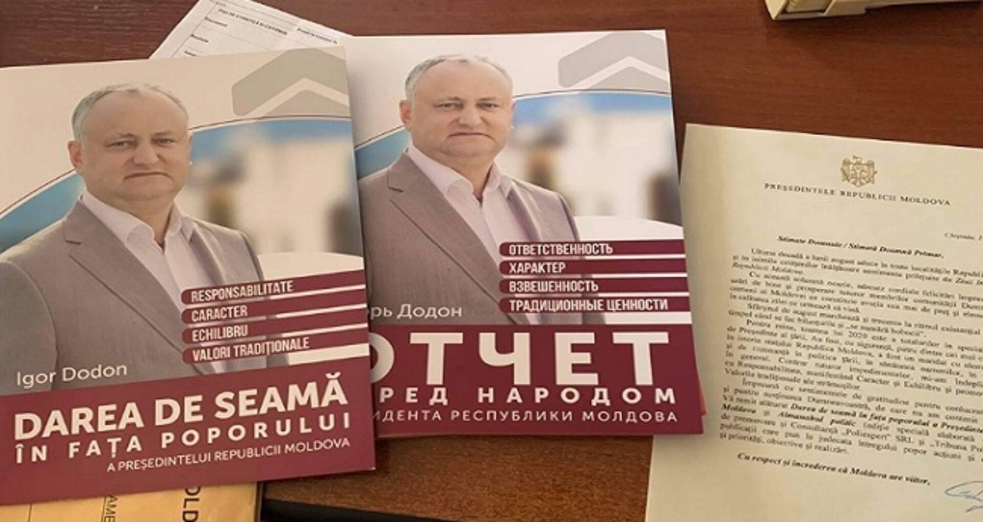 Suma cheltuită din buget pentru raportul de activitate al președintelui sub formă de broșură, distribuit tuturor primarilor din R. Moldova. Președinția a venit cu precizări