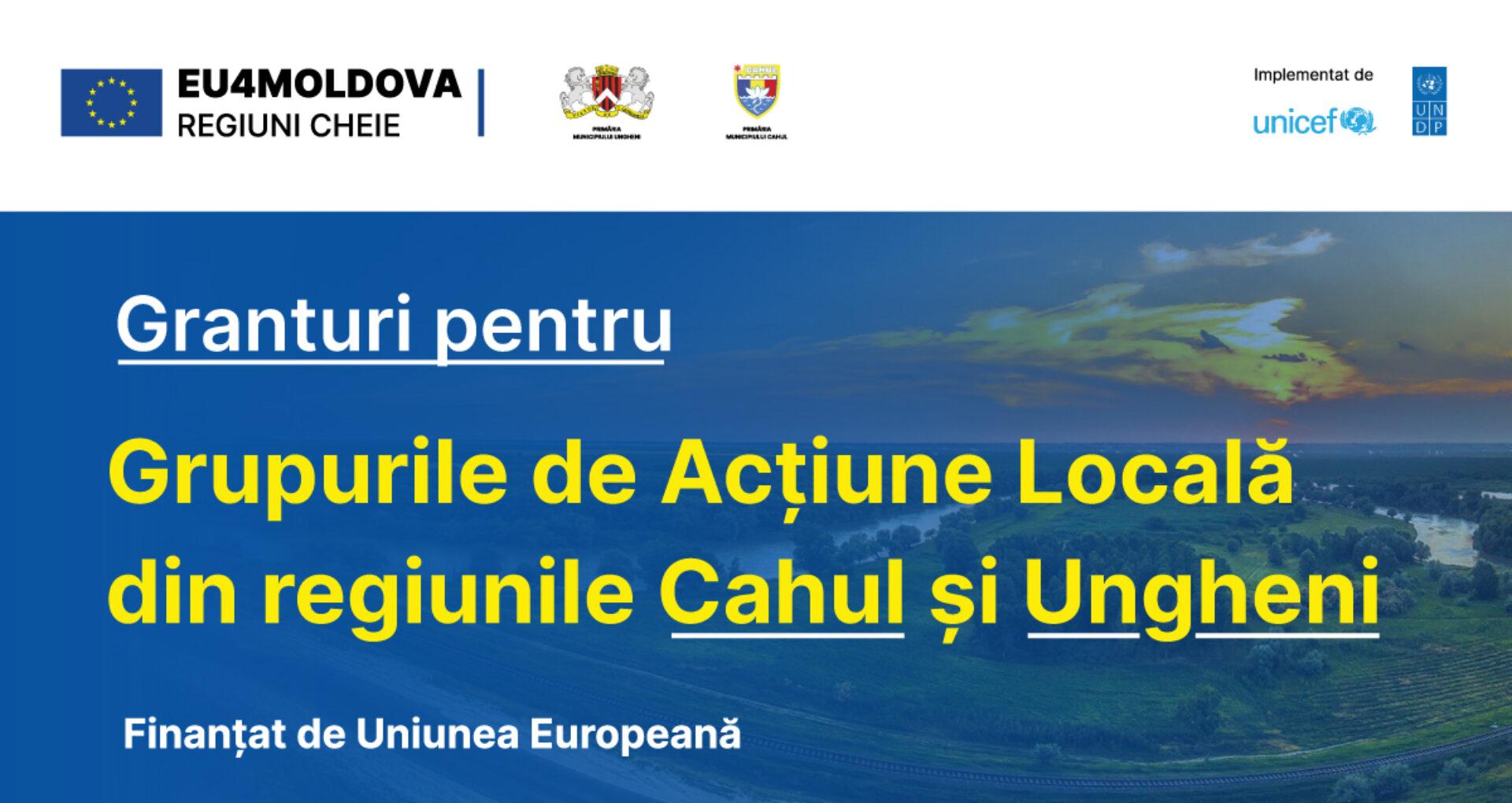 Granturi în valoare de 200.000 de euro vor fi acordate Grupurilor de Acţiune Locală din regiunile Cahul şi Ungheni, cu asistenţa financiară a UE