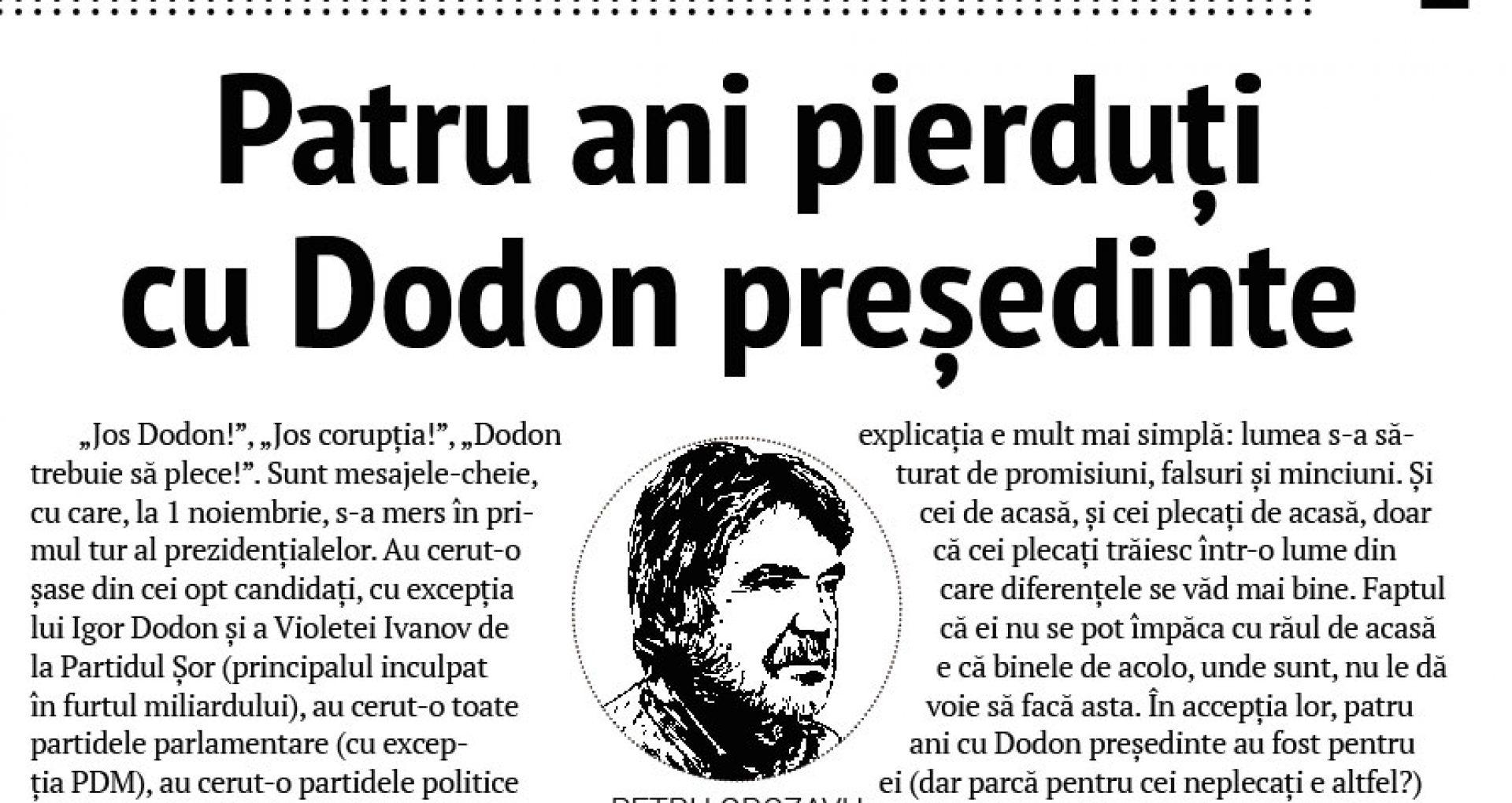 Patru ani pierduți cu Dodon președinte