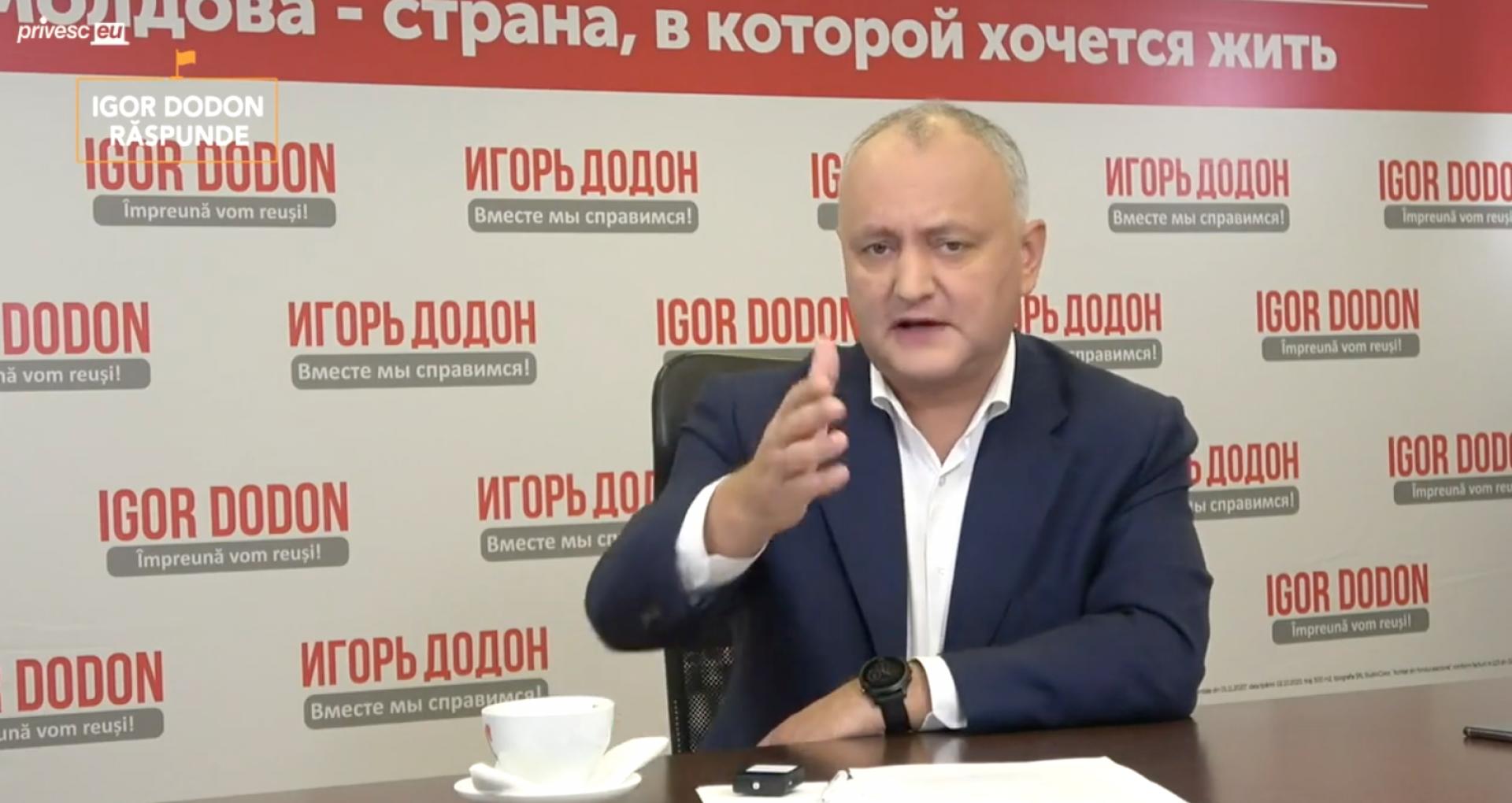 """VIDEO/ Igor Dodon, despre valori. """"În biroul președintelui, anul trecut am strâns-o într-un colț și i-am zis: Doamna Sandu, de ce ești așa speriată?"""""""
