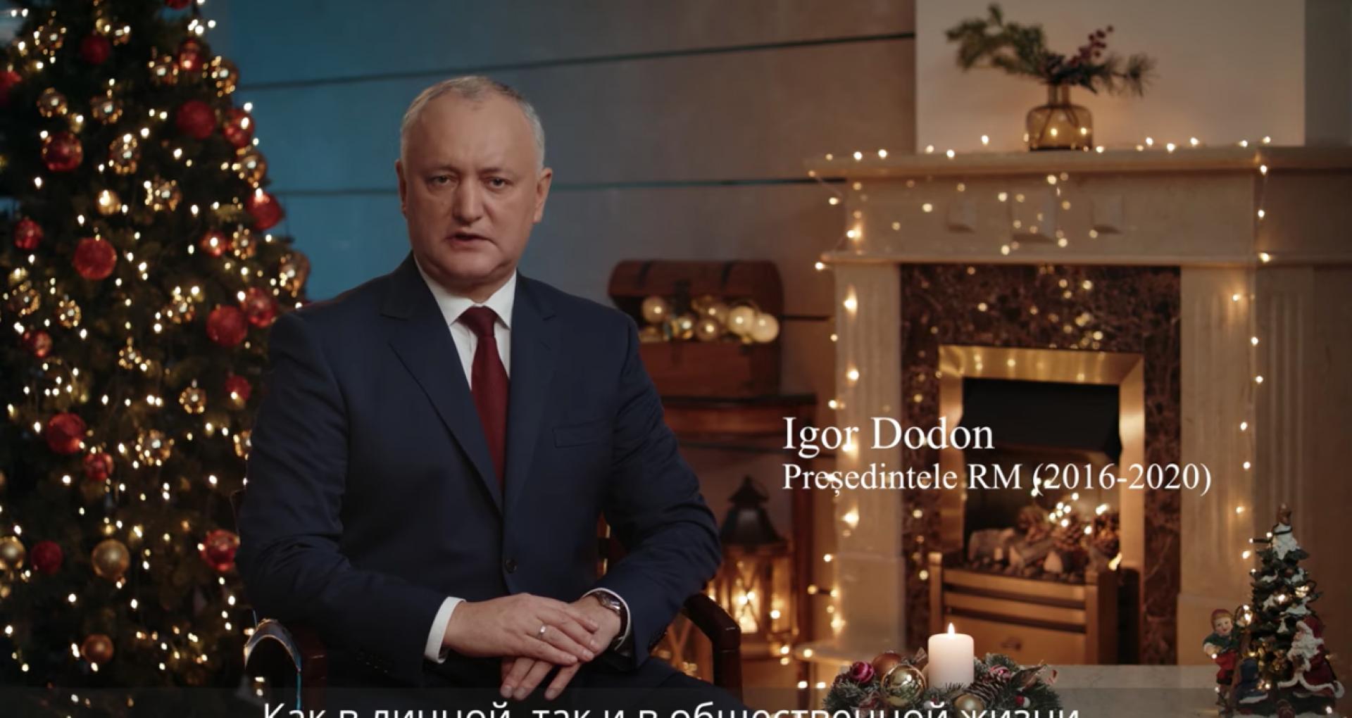 VIDEO/ Igor Dodon a transmis un mesaj de Revelion în calitate de președinte PSRM. Va fi difuzat în noaptea dintre ani de holdingul media afiliat socialiștilor