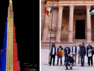 FOTO/ VIDEO. Drapelul României, pe cea mai înaltă clădire din lume. Ce clădiri-simbol au mai purtat tricolorul de 1 Decembrie