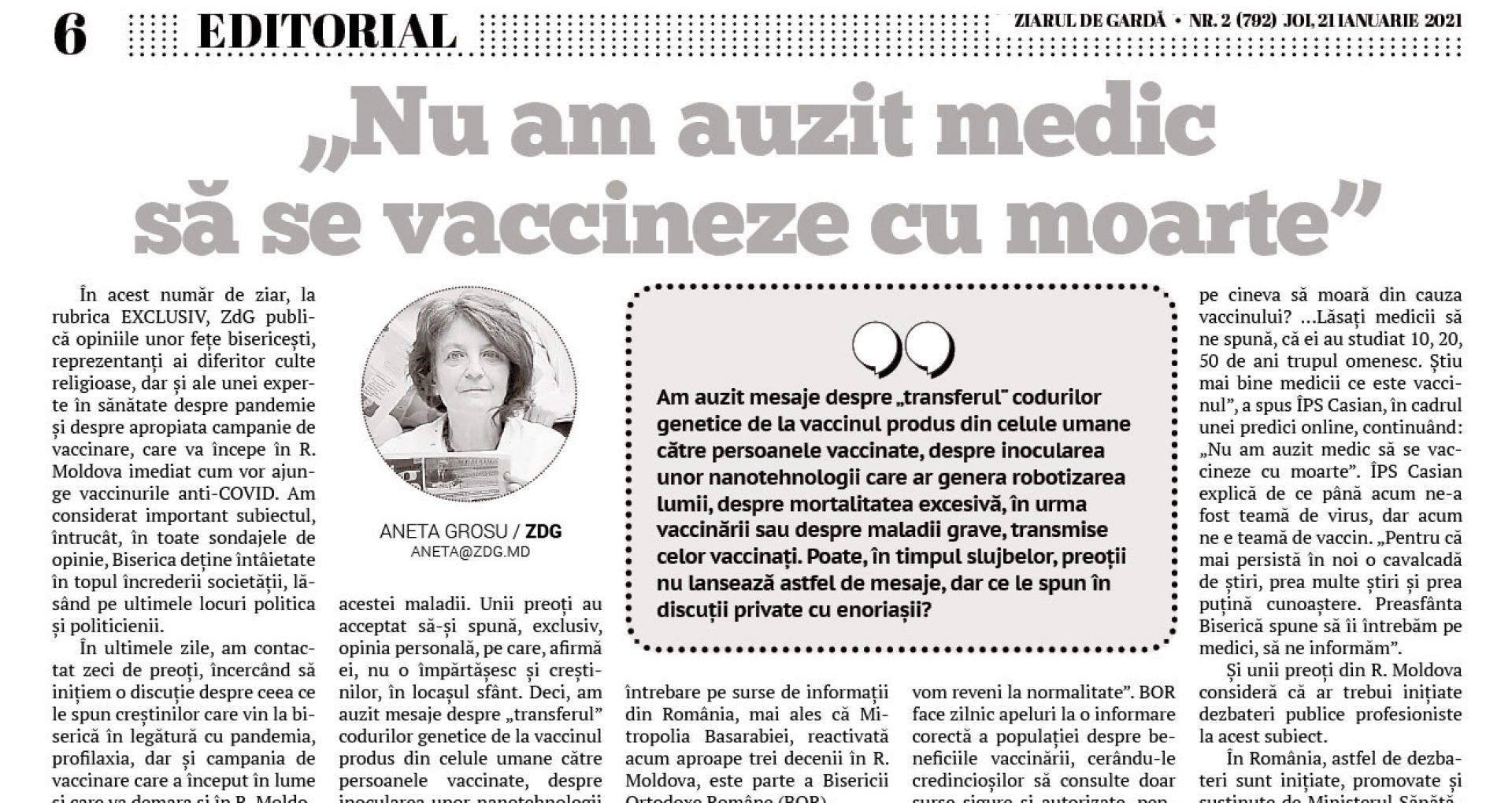 """""""Nu am auzit medic să se vaccineze cu moarte"""""""