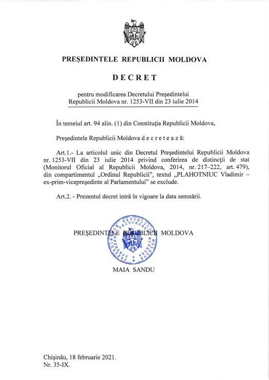 """Maia Sandu i-a retras lui Plahotniuc distincția """"Ordinul Republicii"""""""