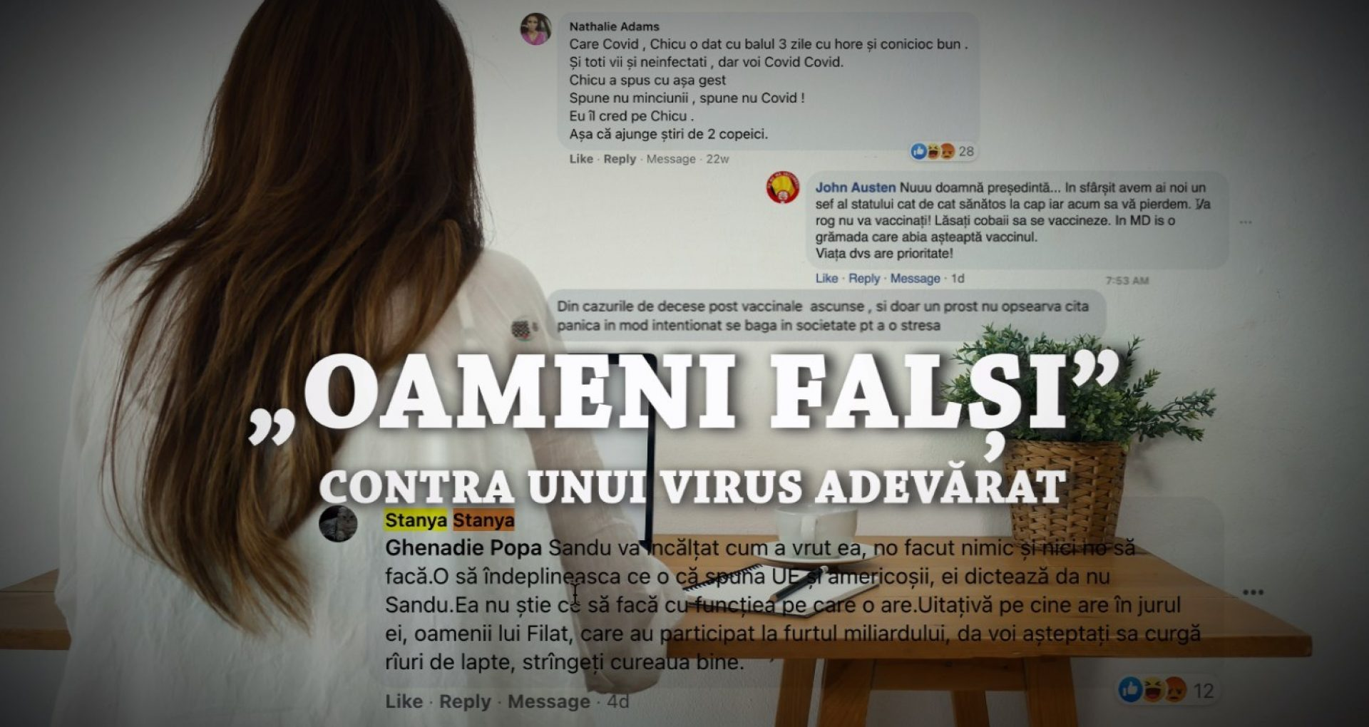 """""""Oameni falși"""" contra unui virus adevărat. ZdG a contactat mai multe profiluri false antivacciniste care comentează activ pe pagina ZdG de pe facebook"""