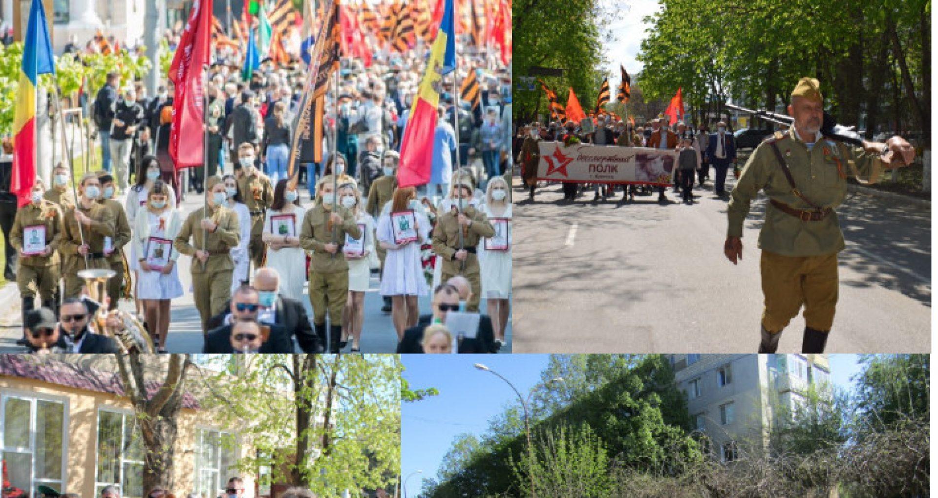 """FOTO/ Marșuri pe timp de pandemie. De """"Ziua Victoriei"""" cu fanfare, panglici negru-oranj și steaguri"""