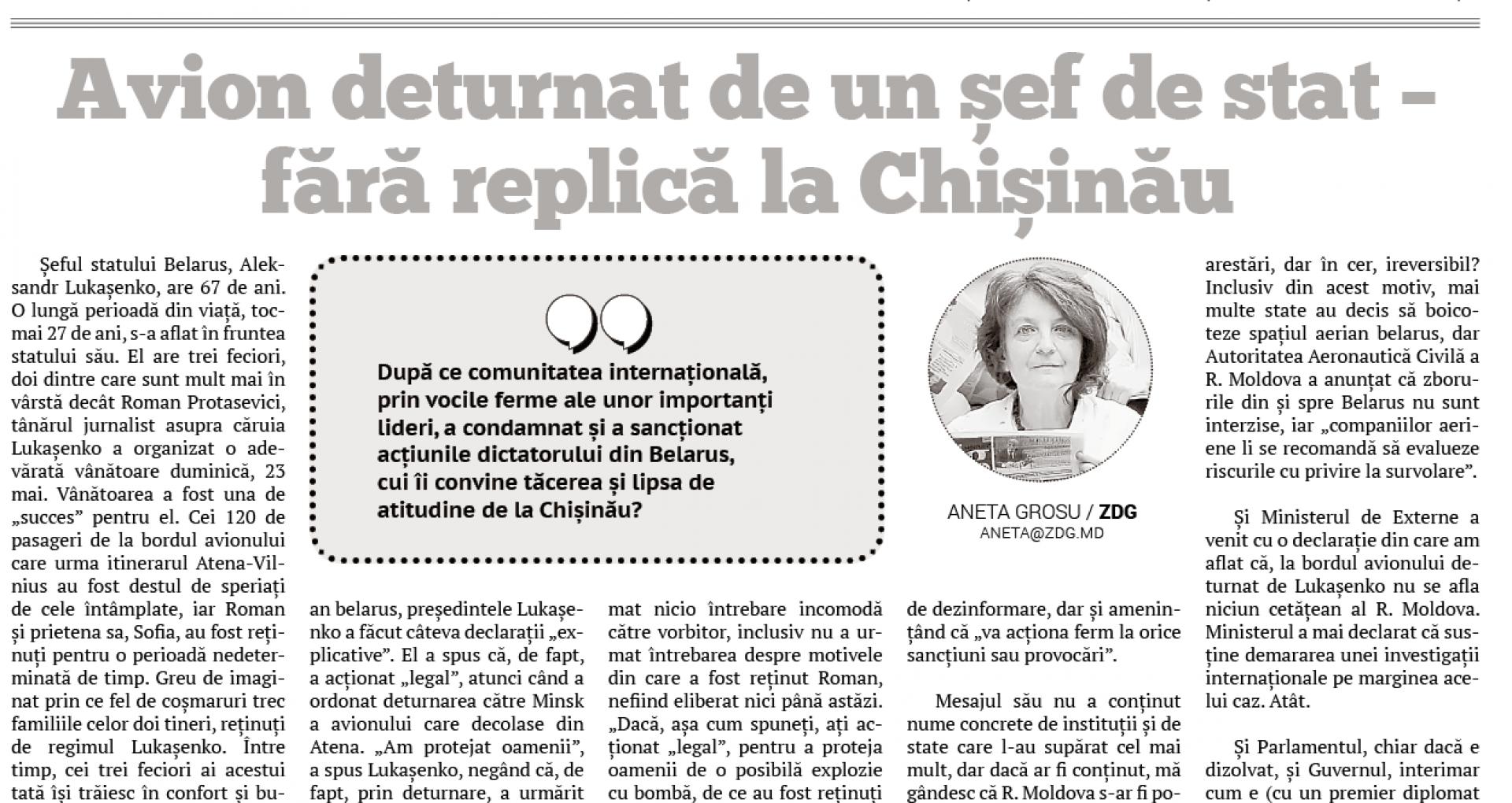 Avion deturnat de un șef de stat — fără replică la Chișinău