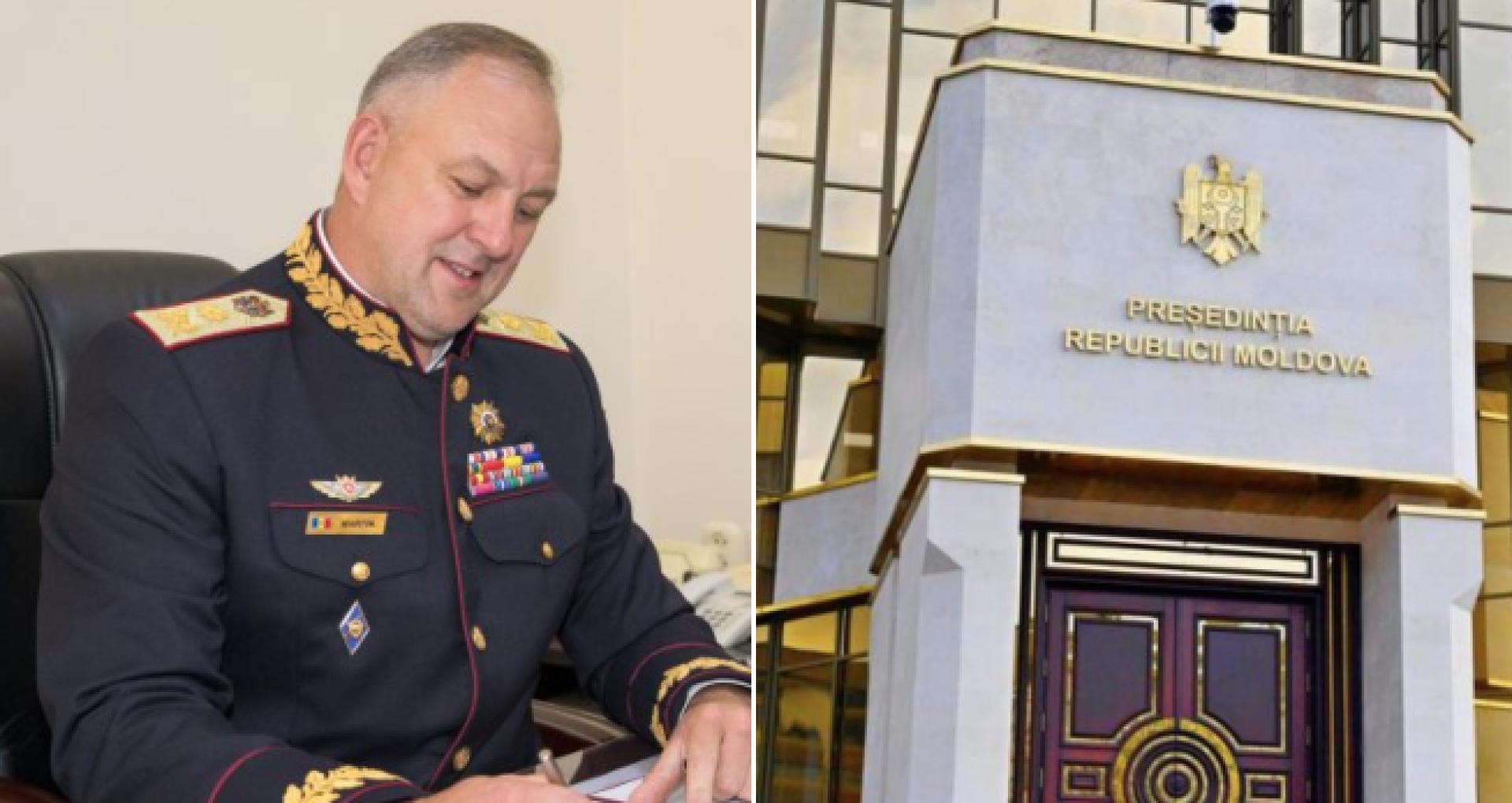 DOC/ Fostul șef al SPPS cu uniformă de general ornată cu fire aurite a acționat-o în judecată pe președinta Sandu: solicită anularea decretului prin care a fost demis din funcția de director al Serviciului. Reacția Președinției