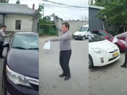 """VIDEO/ Un avocat a fost reținut și s-a ales cu o cauză penală pentru huliganism după ce a încercat să facă justiție cu… cărămida, pentru clienții lui. Poliția: """"Avea un comportament agresiv și a deteriorat trei vehicule"""". Avocat: """"În numele legii R. Moldova, la extrema necesitate"""""""