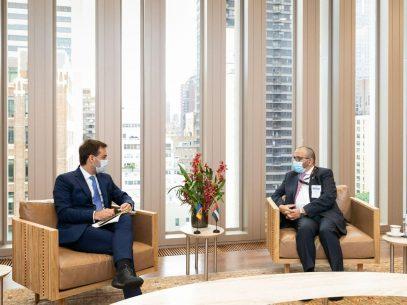 """FOTO/ """"Atragerea investițiilor emiriene în economia națională"""" – subiectul discutat de șeful diplomației R. Moldova și ministrul de stat al Emiratelor Arabe Unite, la New York"""