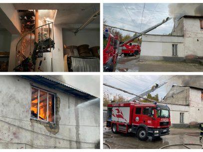 FOTO/ Incendiu la un atelier de poligrafie din Chișinău. Focul a distrus bunuri pe o suprafață de aproximativ 240 de metri pătrați